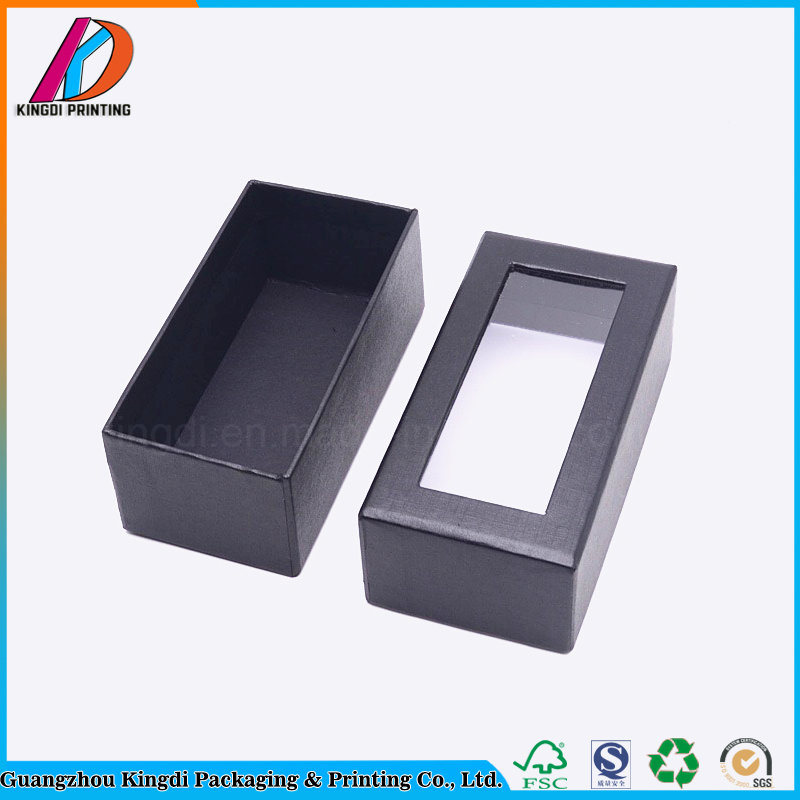 China Custom Black Cardboard Paper Gift Box With Clear Lid Photos