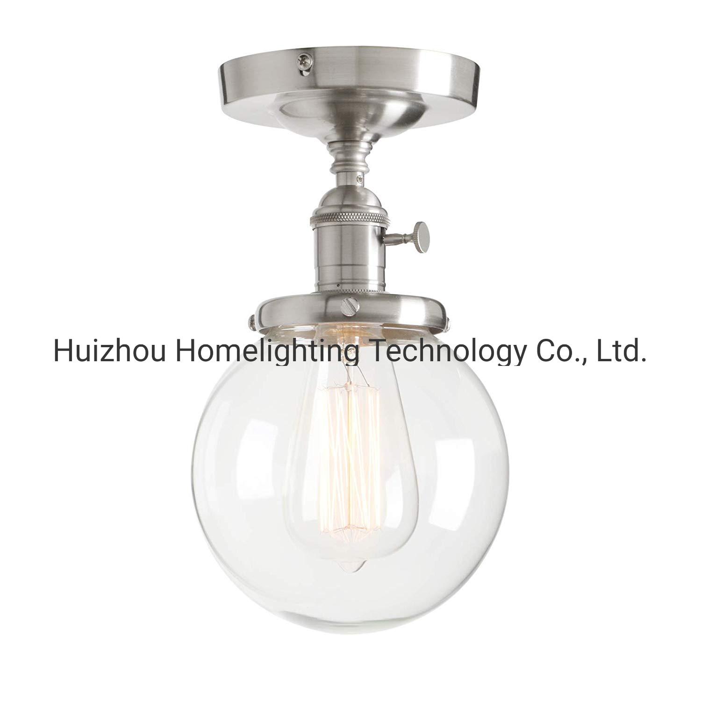 China Jlc G004 Industrial Mini Round Clear Glass Globe Semi Flush Mount Ceiling Light Fixture China Ceiling Lamp Ceiling Lamps