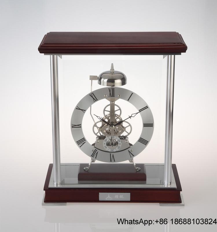 China London Clocks Golden Metal Skeleton Mantel Desk Clock