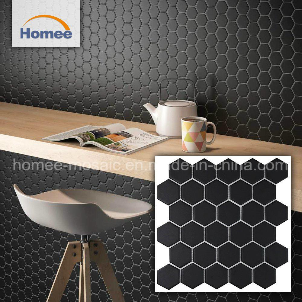China Kitchen Back Splack Matt Black Mosaic Hexagon Decoration Mosaic Tiles China Ceramic Tile Decoration