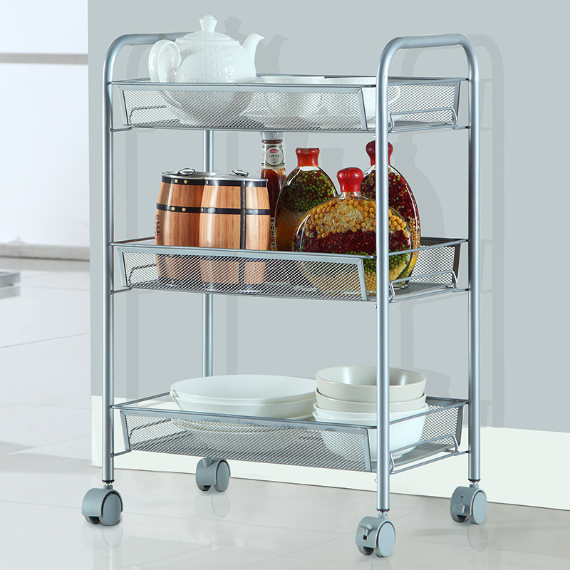China 3 Tier Home Kitchen Cart Hand Metal Trolley With Wheels Wire Rack Kitchenware Basket