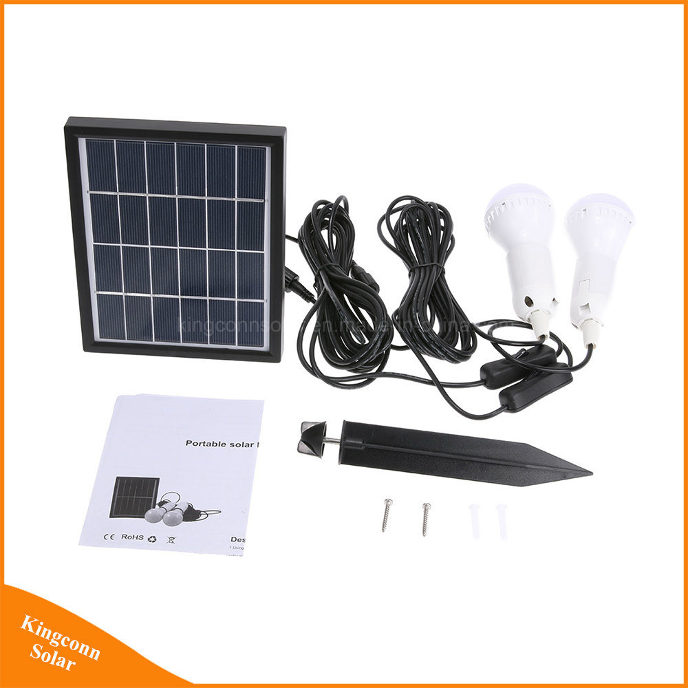 China Portable Solar Power Lighting System with 2 LED Bulbs for Home ...