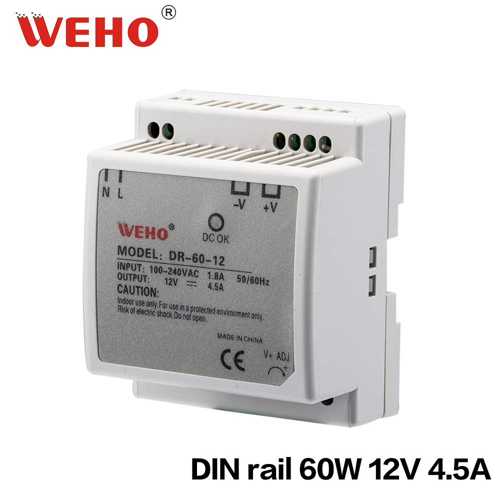 China Din Rail 60w Plastic Shell Industrial Power Supply 12v 45a 12vdc To 230vac Inverter Circuit