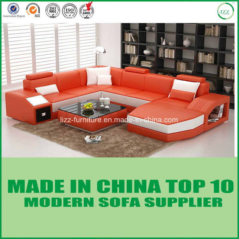 [Hot Item] Nordic Wooden Furniture Italian Leather Sofa/Sectionals