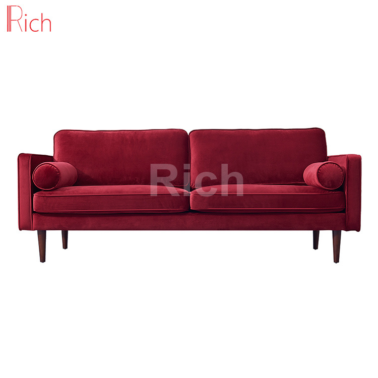 [Hot Item] European Style Drawing Room Furniture Red Velvet Modern Seating  Sofa