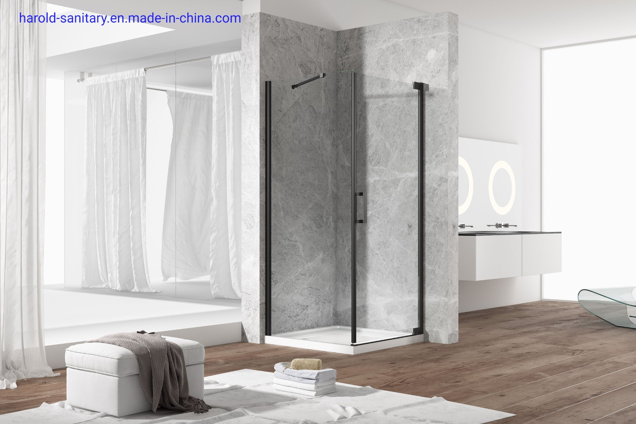 Hot Item Trends Black Pivot Hinge Shower Enclosure For Small Space