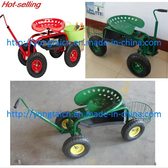 Wheeled Garden Seat (TC1852--) / Garden Cart / Garden Wagon Cart /Rolling Garden Work Seat Cart with Basket