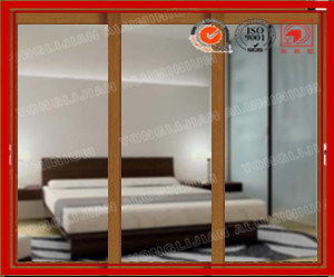 China Aluminum Sliding Glass Door with Wooden Grain Frame and Sash