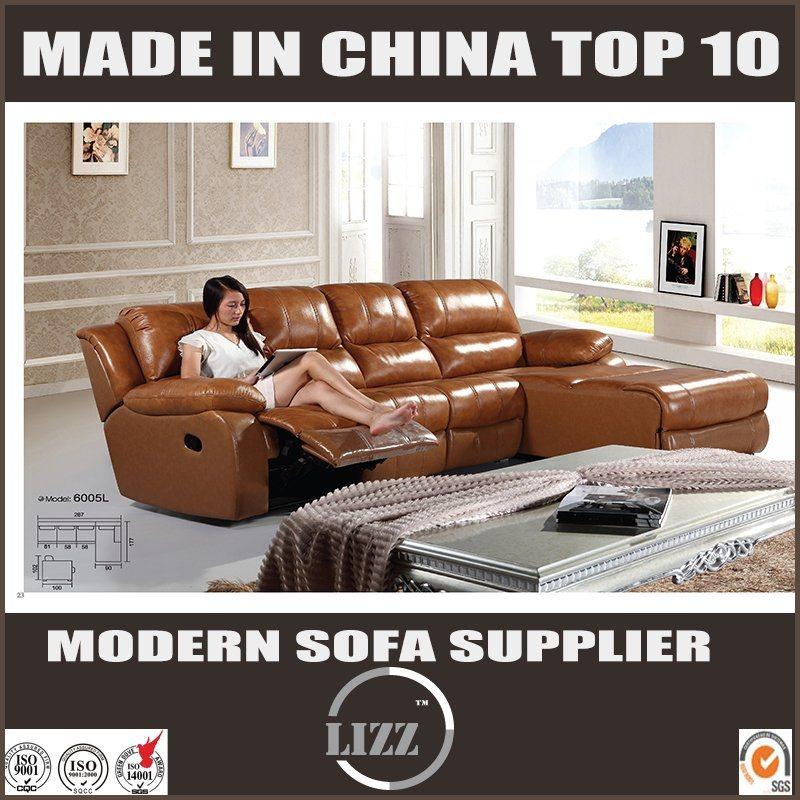 [Hot Item] Genuine Leather L Shape Recliner Sofa for Cinema