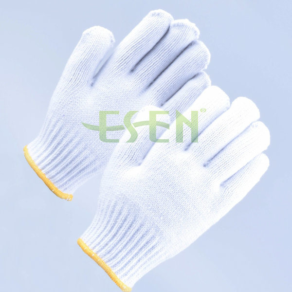 900g Cheapest Nature White Cotton Knitted Gloves for India Market, UAE Market