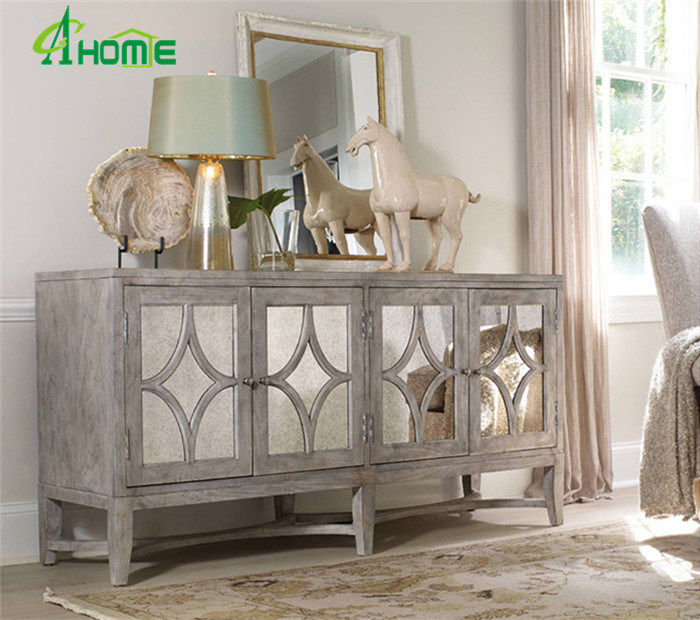 China High Quality Living Room Elegant Wooden Mirrored Furniture With Drawers Cabinet China Mirrored Furniture Antique Mirrored Furniture