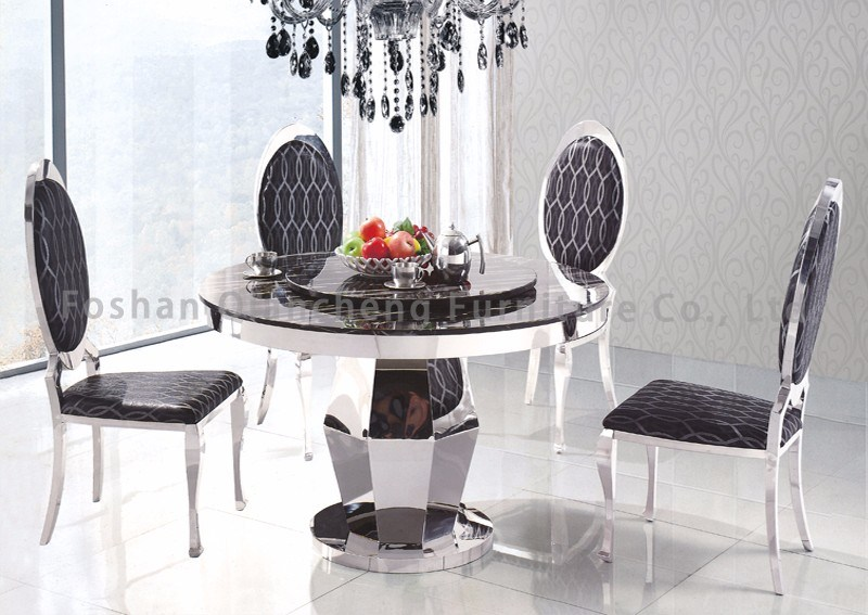 China Marble Top Metal Base Rotating Dining Table Chair