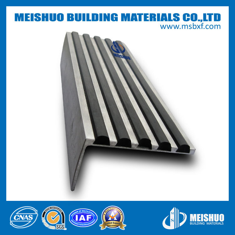 China Indoor Ceramic Tile Rubber Stair Nosing With Aluminum Base