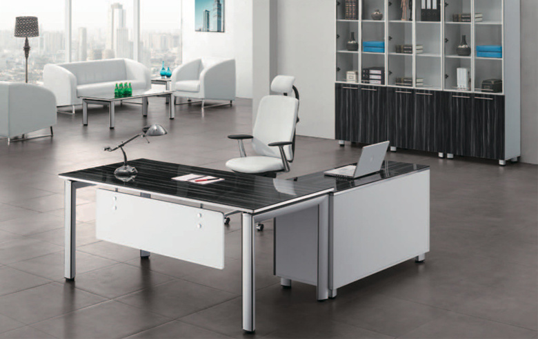 [Hot Item] Modern Office Desk with Glass Top and Metal Leg