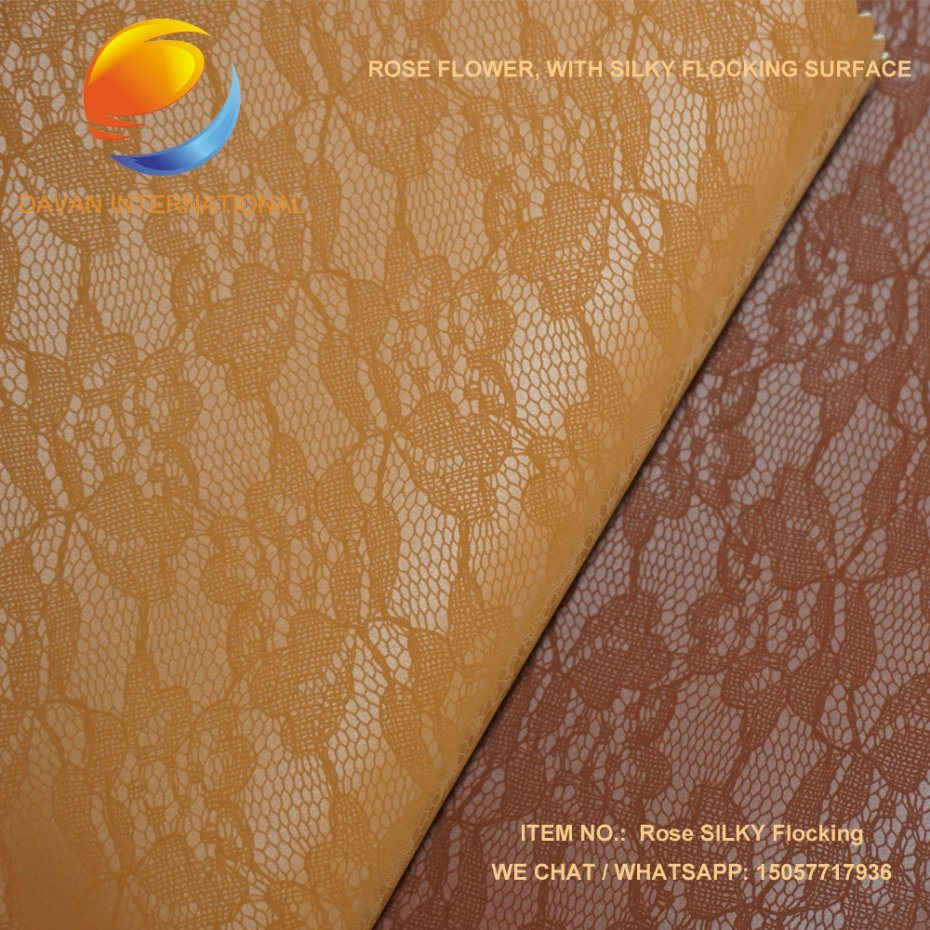 Faux Leather Rose Design Silky Flocking Material for Shoes Bags