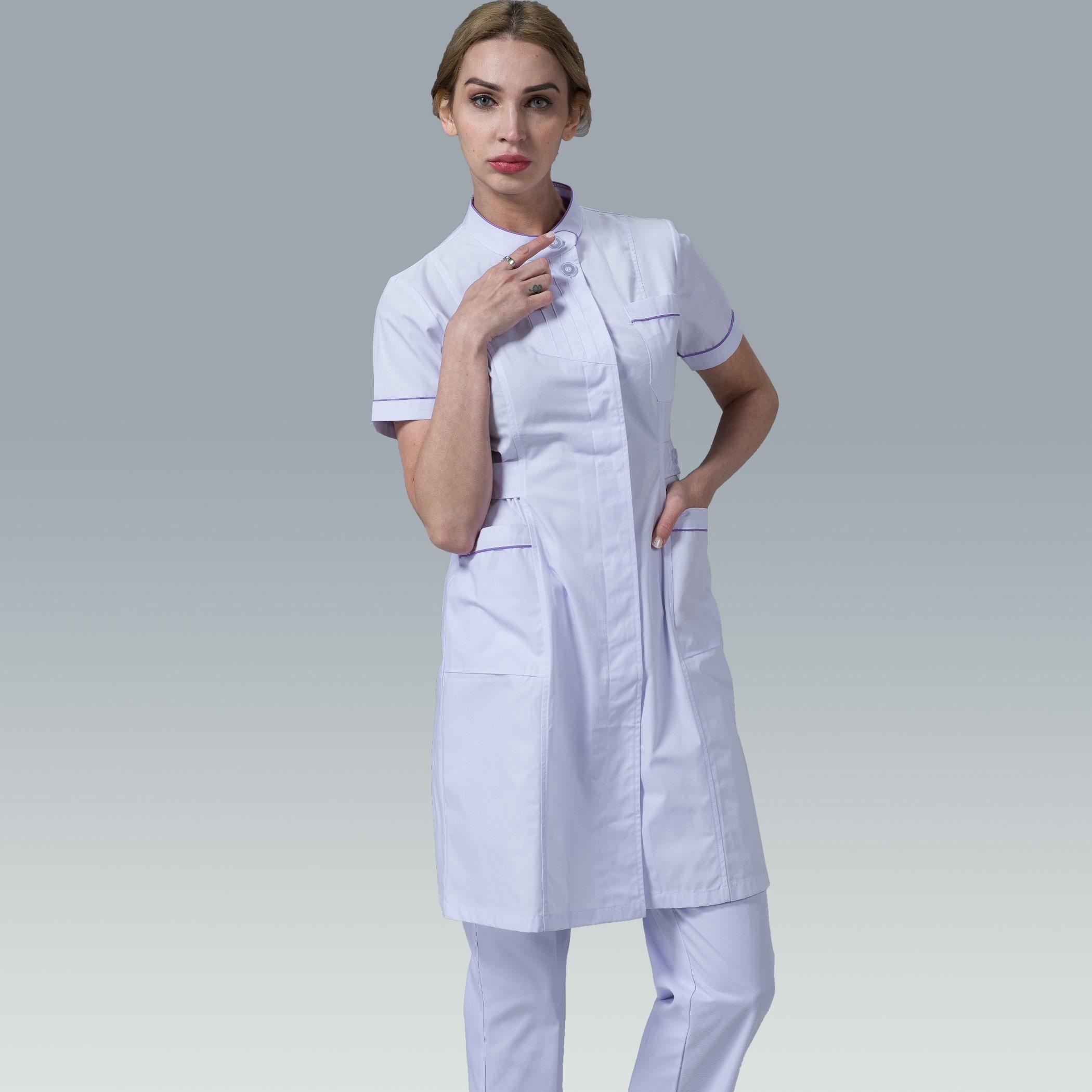 b66c30f1115 [Hot Item] Professional Hospital Uniform Suppliers Stand-Collar and Border  Nurse Uniform Dress