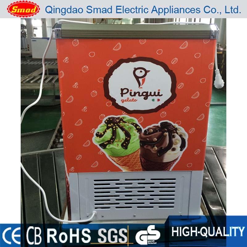 China Flat Glass Door Freezer Sliding Door Ice Cream Chest Freezer