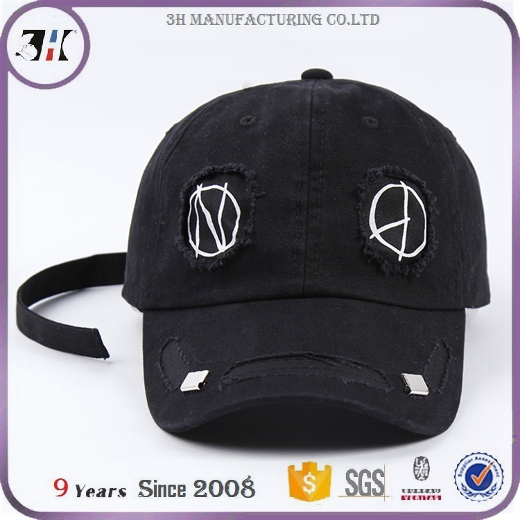 274f6c14d0b China Fancy Funny Pattern Black Distressed Baseball Dad Cap with Long Strap  Tail - China Distressed Dad Cap