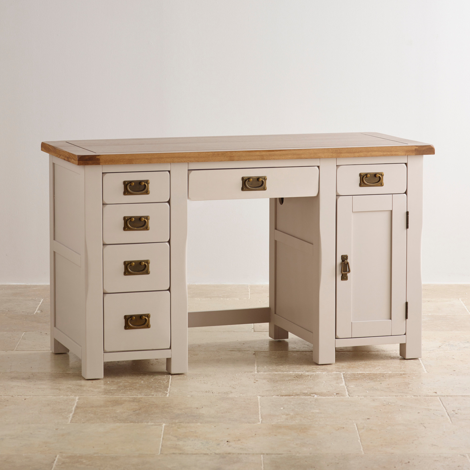 - China White Paint Oak Solid Wood Computer Desk - China Table