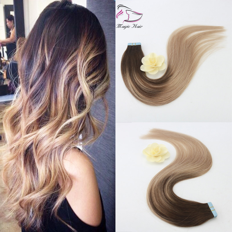 China Easy To Dye African American Human Balayage Color 418 Tape