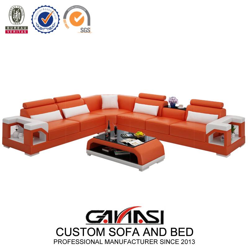 Imported Orange Color Leather Made Fancy Home Sofa Set ...