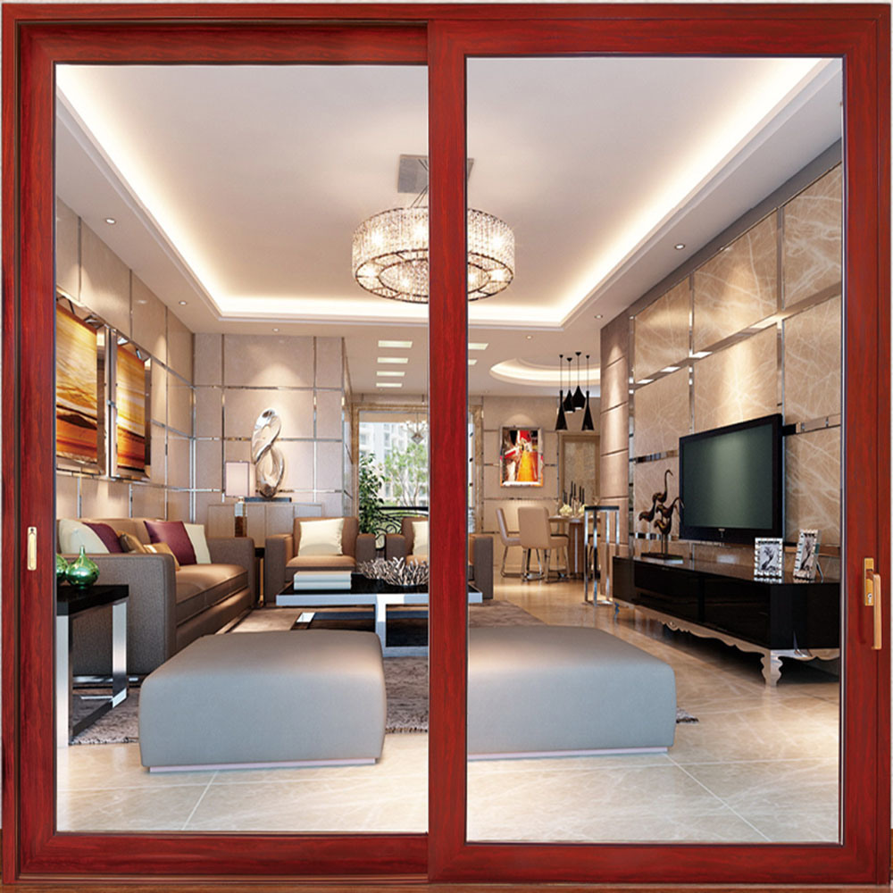 China Aluminum Double Leaf Sliding Glass Door With Seal Waterproof