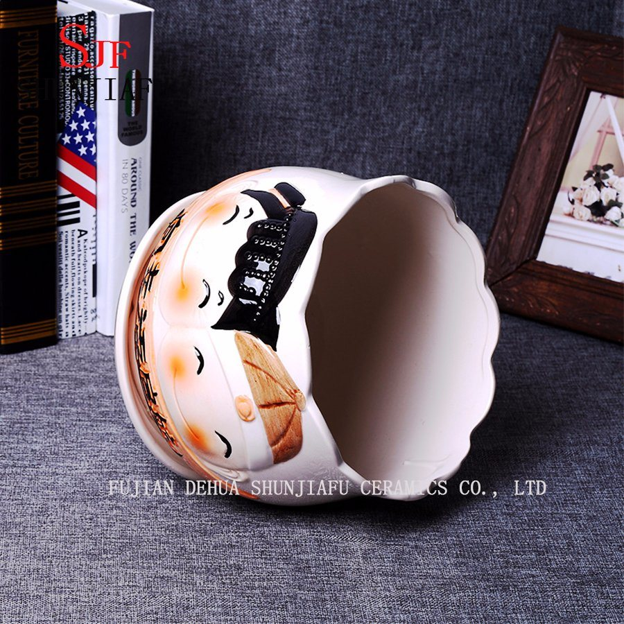 Gifts & Decor Ceramic Cute Doll Pattern Round Flowerpot pictures & photos