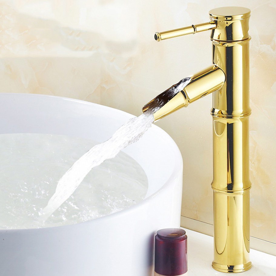 China FLG Gold Painting Bamboo Design Bathroom Vessel Faucet - China ...