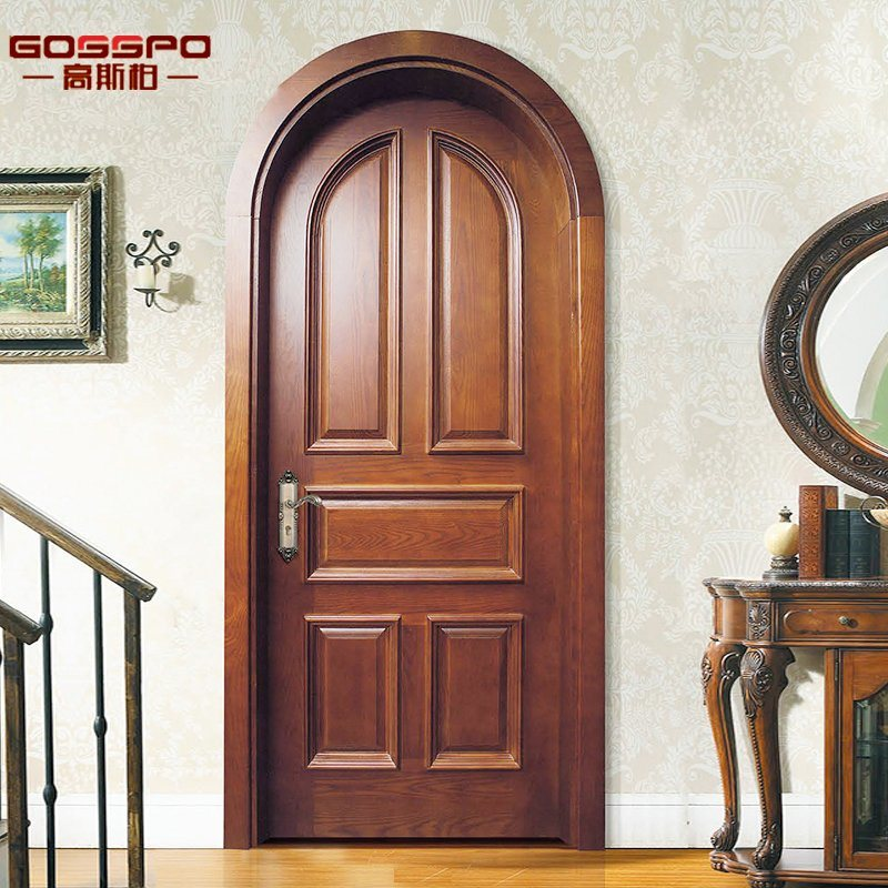 China European Style Arch Top Entry Best Wood Door Design