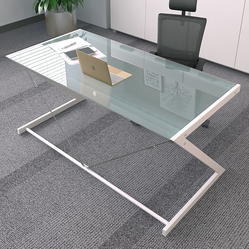 China Tempered Glass Computer Desk With Z Shaped Metal In Black Colors For Home Office Furniture Study Table