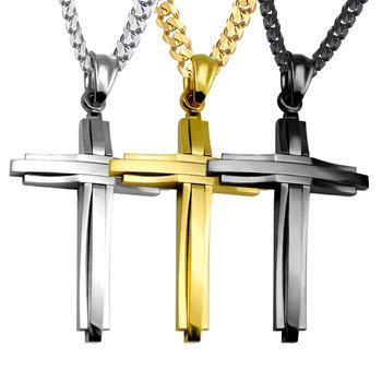 New Gift Unisex/'s Men Stainless Steel Cross Pendant Black Silver Necklace USA