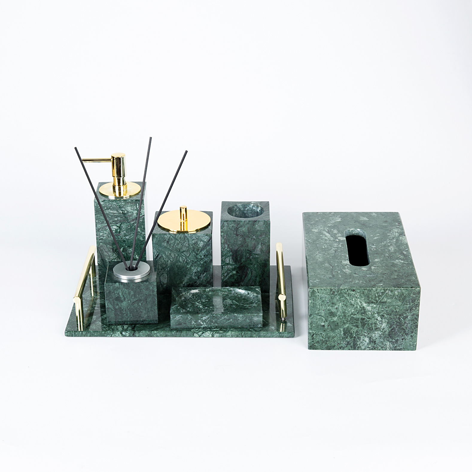China Bathroom Luxury Accessories 7 Sets Green Marble Stone Bathroom Accessories China Home Decor Marble Soap Dispenser