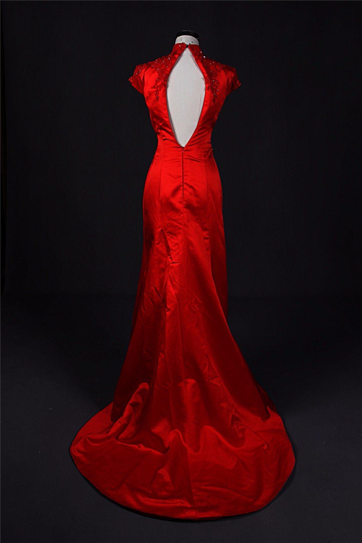 China Custom Made Red Mermaid Cheongsam Fashion Evening Gown 2018 ...