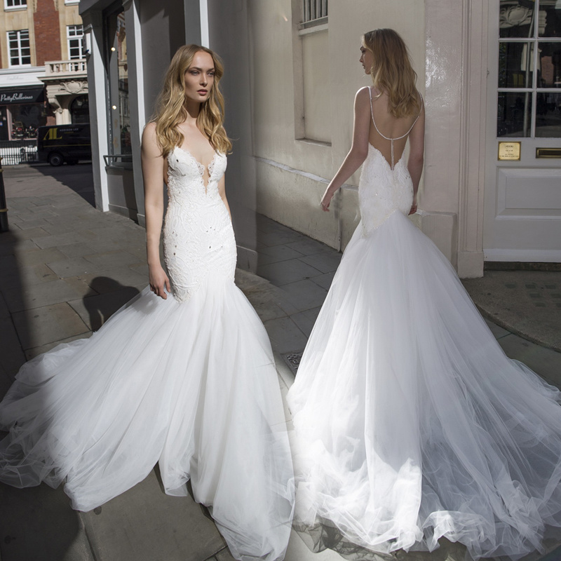China Mermaid Backless Bridal Gowns Tulle Lace Wedding Dresses 2018 ...