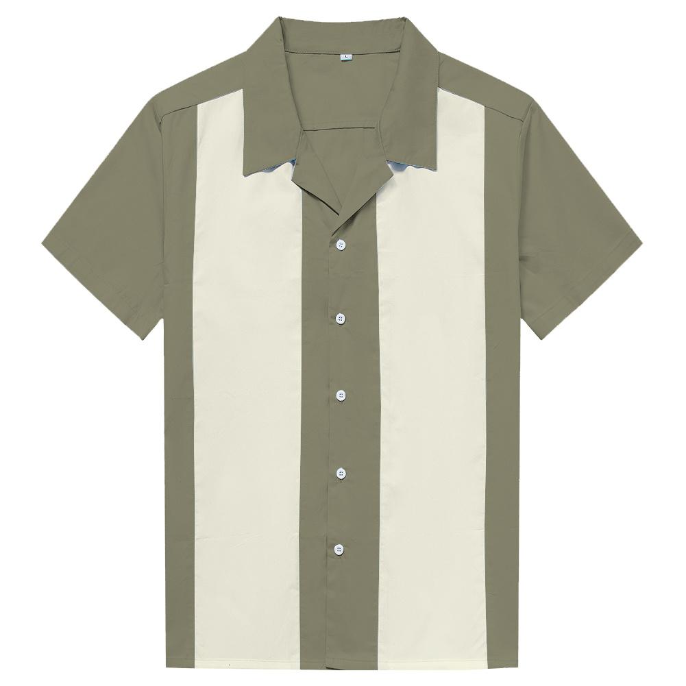 China Custom Cotton Vintage Mens Bowling Shirts Olive Green