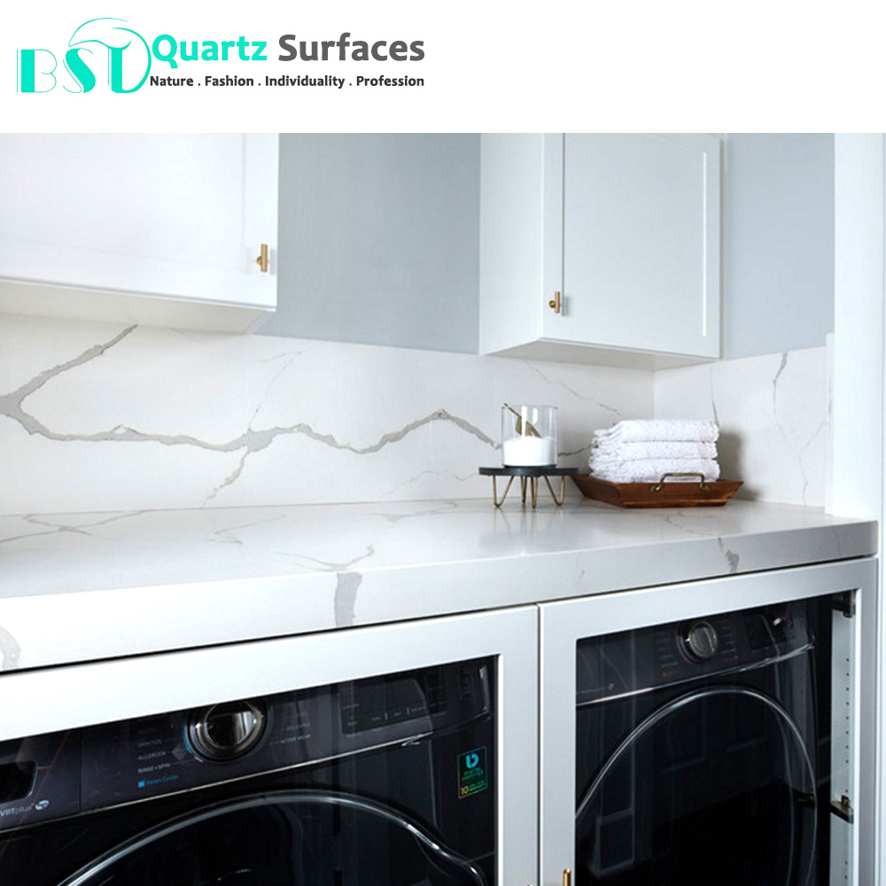 Gray White Veined Marble Bathrooms: China White Artificial Quartz Stone With Grey Veins For