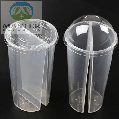 [Hot Item] Clear Disposable PP Plastic Twin Split Cups