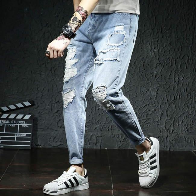 New Skinny Jeans men Streetwear Destroyed Ripped Jeans | Big