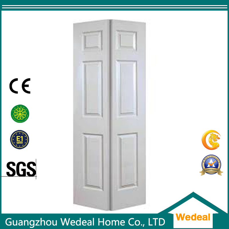 China Bi Folding Six Panel Interior Hollow Core Wooden Closet Door