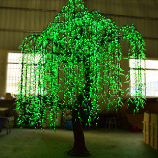Hot Item Outdoor Garden Decoration Green Led Willow Tree Light Outdoor Christmas Tree