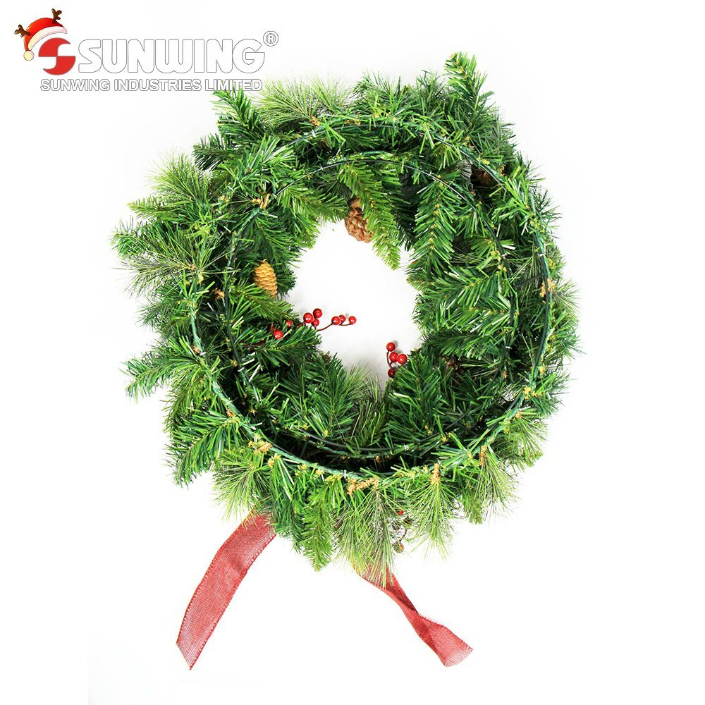 2017 Wholesale Cheap Artificial Christmas Wreaths for Outdoor Decoration