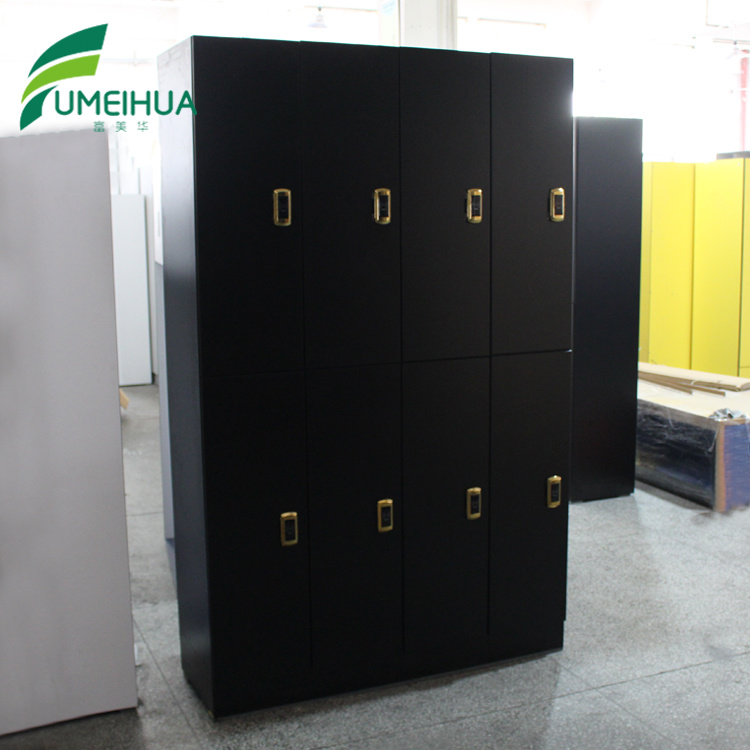 Black 8 Doors Hpl Locker Golden Rfid Lock With Bench For France