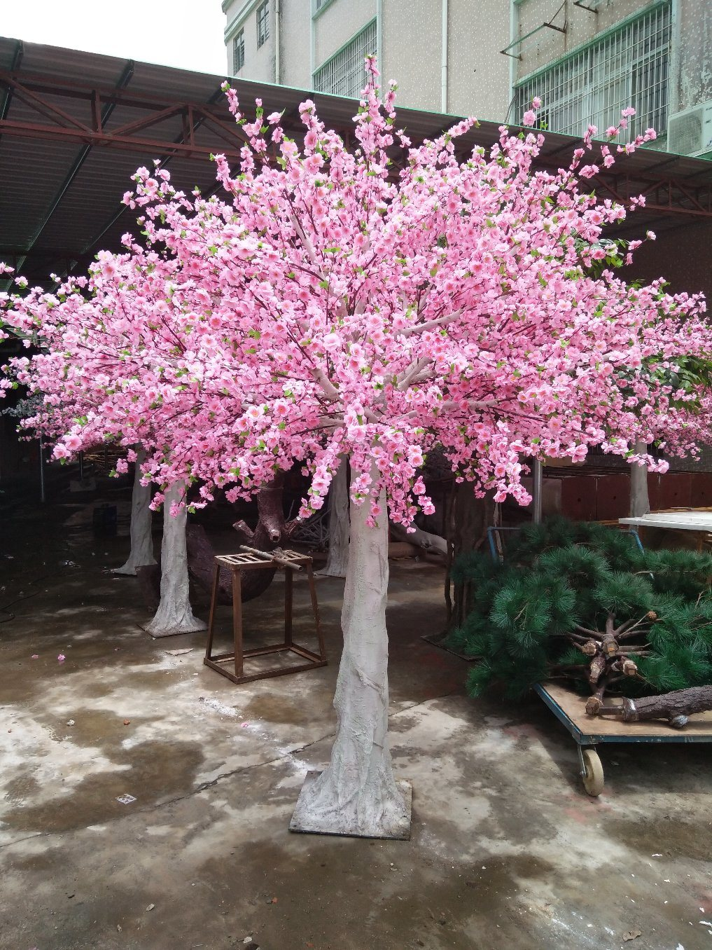 China High Quality Artificial Pink Silk Flowers Blossom Peach Tree