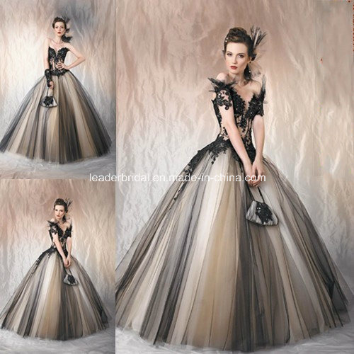 China Gothic Cap Sleeves Color Accent Bridal Ball Gown Black Tulle