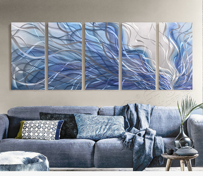 China Metal Wall Art Modern Home Decor Abstract Sculpture Contemporary Radiance Silver And Blue 5panels 24 X64 Painting Price