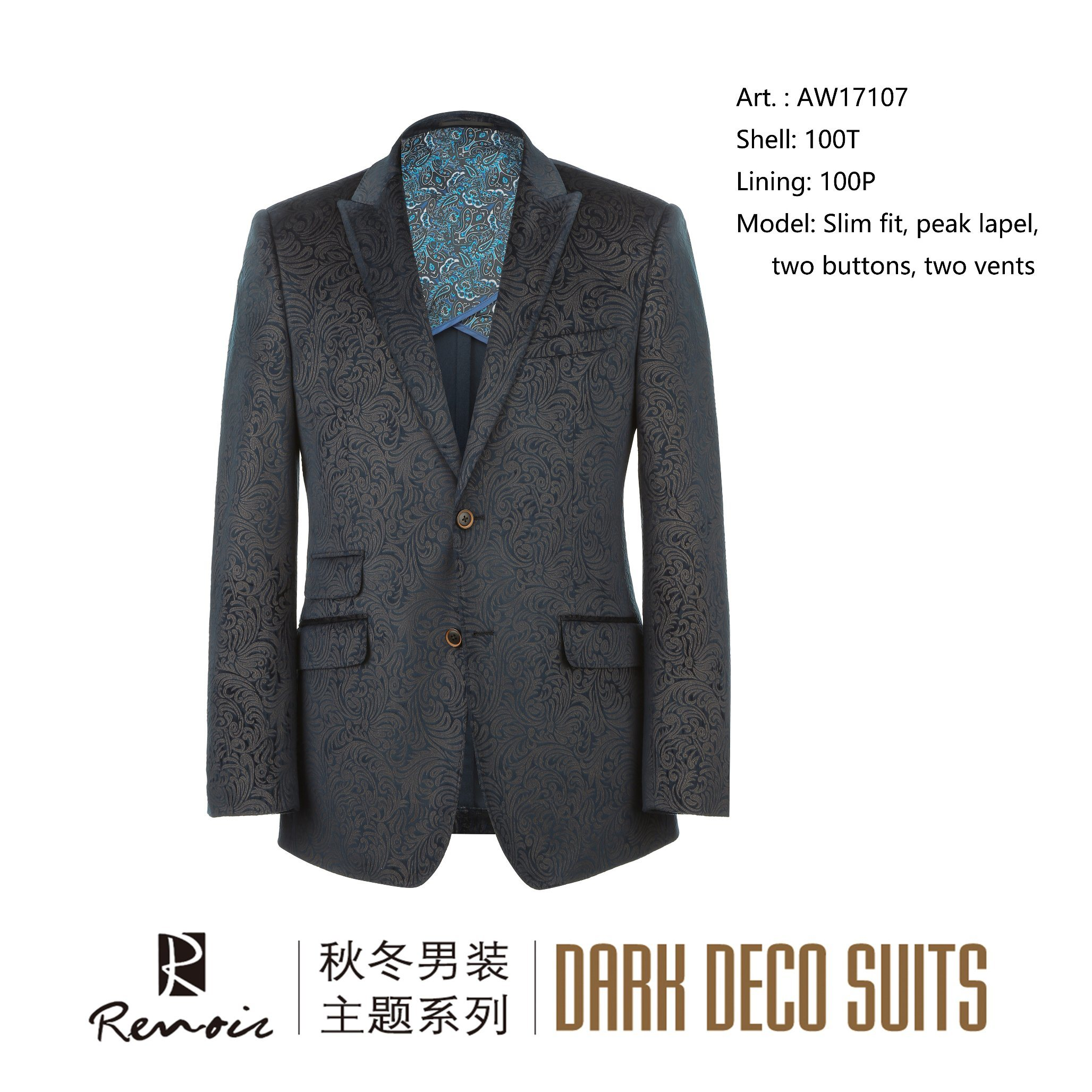 OEM Slim Fit Peak Lapel Men′s Blazer pictures & photos