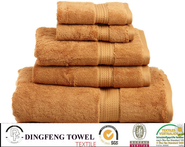100% Cotton Yarn Dyed Bath Towel Sets with Satinborder