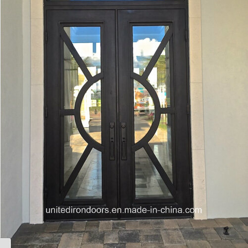 China Modern Square Top Wrought Iron Front Double Door