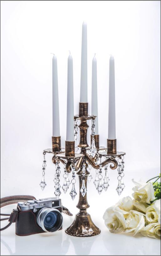 Bronze Clolor Wedding Decoration Glass Candle Holder with Five Poster
