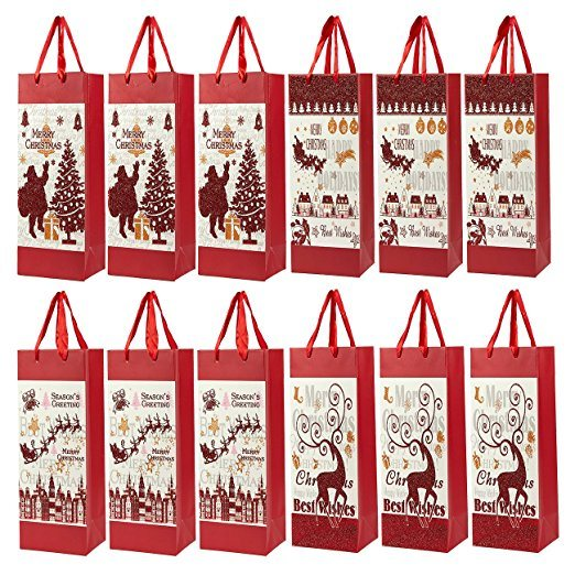 China OEM Christmas Gift Wine Bags - Paper Bags with Satin Handles ...
